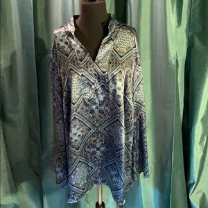 Lane Bryant 22/24W LS, Top, with blue colors